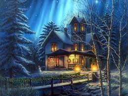 Winter Houses Winter Lights Sky New Lovely Holidays Creek Christmas Stars Xmas