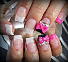 cute pink nails with black glitter and silver bow nails