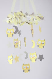 small owl nursery mobile in light yellow gray u0026 white baby