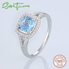 sted jewelry bridal jewelry sets for women cushion sky blue cz diamond jewelry