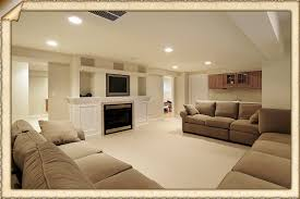 clean and white and bright this open feeling basement family room