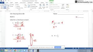 Multi Step Equations Worksheets One Step Equations Worksheet Youtube