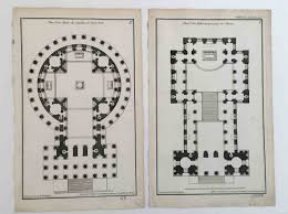 1757 architecture plans antique engravings original antique