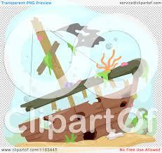 cartoon of a sunken ship wreck underwater royalty free vector