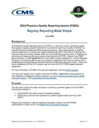 pqrs registries 2016 physician quality reporting system qualified registries