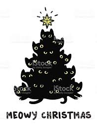 White Christmas Tree With Black Decorations Cats Christmas Tree Stock Vector Art 499056060 Istock