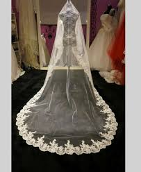 2016 new long one layer wedding veil with lace edge bridal veil