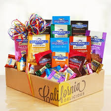 california gift baskets ghirardelli chocolate rainbow gift basket california delicious