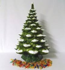 ceramic christmas tree 29 vtg provincial mold lighted flocked ceramic christmas
