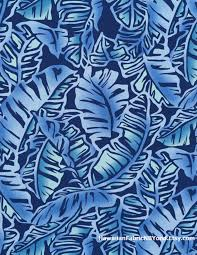 tropical fabric large print of banana leaves in blues rayon