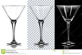 martini vector transparent glass for martini on white and black backg stock