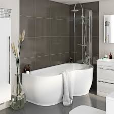 mode maine right handed p shaped shower bath and shower screen