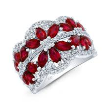 ruby diamond ring white gold color flower ruby diamond ring