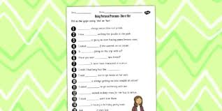 using personal pronouns she or her worksheet personal