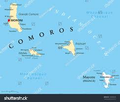 map comoros political map comoros capital moroni important stock vector