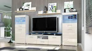 Wohnzimmerschrank Auf Rechnung Wohnwand Almada Korpus In Weiß Matt Front In Creme Hochglanz