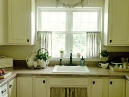 kitchen window curtains ideas grey metal chrome double bowl