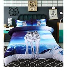 Wolf Bed Sets Babycare Pro Blue Wolf Printed 100 Cotton 3d Duvet
