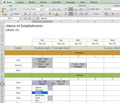 Employee Schedule Excel Template Restaurant Employee Scheduling Template For Excel 7shifts