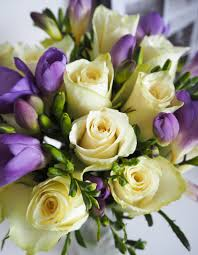 flowers direct flowers direct white roses with lilac freesias bouquet