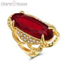 long gold rings images Gold color 316l titanium red crystal long ring for men wedding jpg