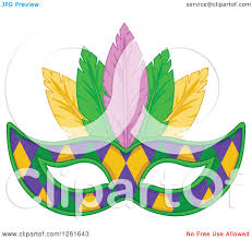 green mardi gras mask clipart of a purple green and yellow diamond patterned mardi gras