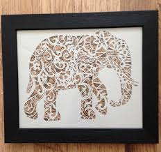 elephant papercut template cut your own safari art