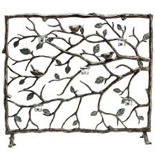 bird u0026 branch leaf votive candleholder fireplace screen bronze