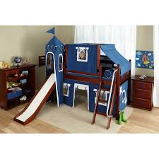 Bed Tents For Bunk Beds Bedroom Varnished Wooden Loft Bed With Blue Tent Combined
