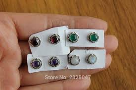 store stud earrings sl017 tibetan 925 sterling silver inlaid moonstone garnet women