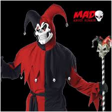 Halloween Jester Costume Size Evil Jester Costume Red Black Mens Halloween Fancy