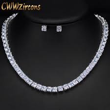 crystal choker necklace set images Cwwzircons sparkling square cubic zirconia crystal silver color jpg