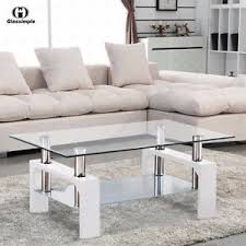 Living Room Furniture Ebay by Rectangular Glass Coffee Table Shelf Chrome White Wood Living Room