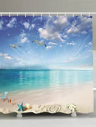 Waterproof Fabric Shower Curtains Beach Landscape Waterproof Fabric Shower Curtain Sky Blue Cm In