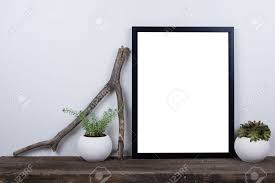 scandinavian style empty photo poster frame mock up minimal