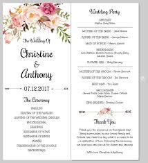 Easy Wedding Program Template Floral Wedding Program Template Templett Blog