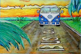 volkswagen bus beach vw bus only surf art wgilroy surfing print vw surf van
