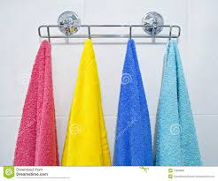 colorful towels hanging in a bathroom stock photo image 13560850