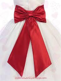 Red Sash Satin Flower Sash Belt With Bow