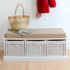 storage bench with baskets and cushion entryway bench white white