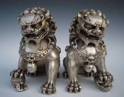 foo dog statues antique silver guardian lion foo fu dog door guard statue