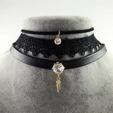 vintage lace choker necklace images Crystal stone pendant leather collares vintage lace choker jpg