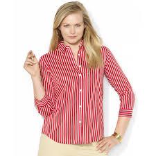 lauren by ralph lauren plus size threequartersleeve striped shirt