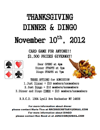 thanksgiving dinner and dingo event rochester recreation club of
