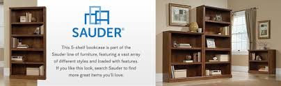 Sauder 3 Shelf Bookcase Cherry Amazon Com Sauder 5 Shelf Bookcase Jamocha Wood Finish Kitchen