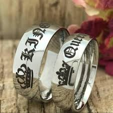 titanium style rings images Wish gothic punk style sliver king and queen rings his hers jpg