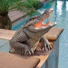 florida sw gator alligator sculpture home garden pond crocodile