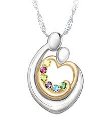 mothers necklace with kids birthstones embraced by family birthstone necklace with names heart