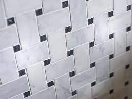 black and white mosaic basketweave wall tile adds a splash of