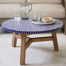 cobalt blue mosaic tile round coffee table blue pinterest